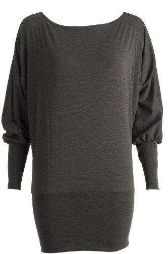 Fast Fashion Damen Langarm Batwing Top (40/42, Charcoal-top)