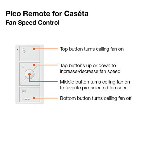 Lutron Pico Remote for Caseta Wireless Smart Fan Speed Control, PJ2-3BRL-WH-F01R, White by Lutron (Image #3)