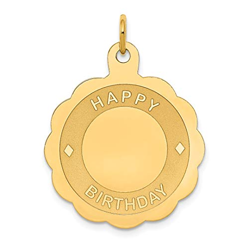 Scale 18th Yellow - 14k Yellow Gold Happy Birthday Disc Pendant Charm Necklace Special Day Fine Jewelry Gifts For Women For Her
