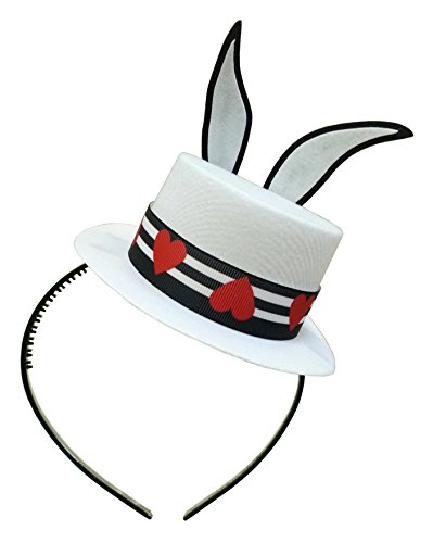 [White Bunny Ears Mini Top Hat Headband Mad Hatter Tea Party Alice in Wonderland] (Mad Tea Party Costume)