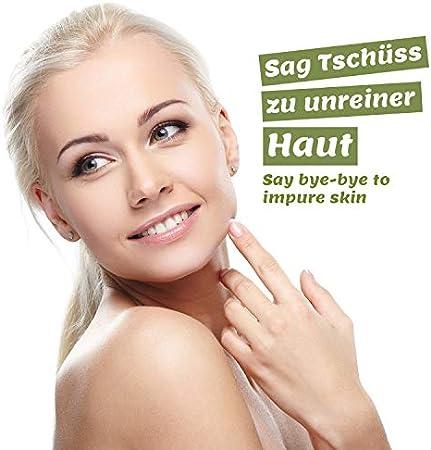 Crema de árbol de té 100ml, vegana - para uso en pieles con manchas, inflamación de la piel, crema anti espinillas y anti-acné