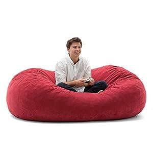 Big Joe XL Fuf Foam Filled Bean Bag Chair, Comfort Suede, Sierra Red