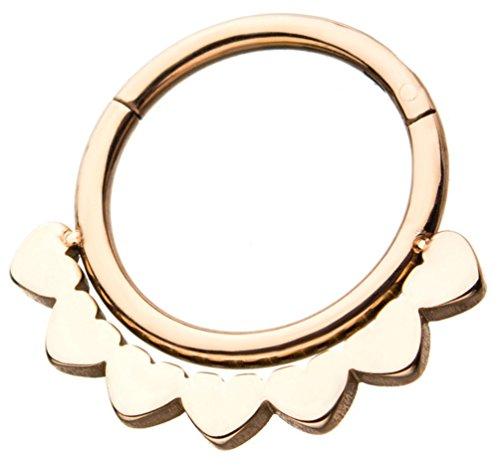 (BYB Jewelry 18 Gauge Floral Style Steel Hinged Segment Ring Hoop Piercing (Rose Goldtone PVD Steel))