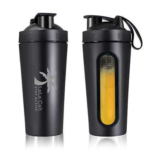 Stainless Steel Protein Shaker Bottle BPA Free, Shaker Bottles Protein Mixes & BCAA's, Gym Bottle & Shaker Ball, [LALA CALI] Leak-Proof, Visible Measuring Window, Dishwasher Safe, 28 Oz (Black)