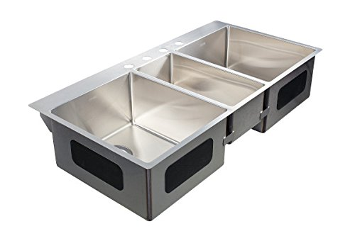 Franke HFT4322-4 Vector 43-inch Dual Mount Triple Bowl Kitchen Sink with Four Holes, Stainless Steel