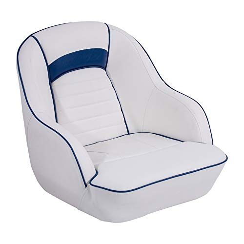 - North Captain Pontoon Boat Seat Captain Bucket Boat Seat,White/Blue