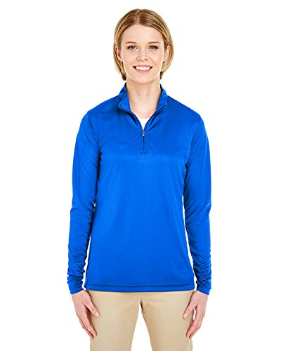 UltraClub Ladies Sport Performance Interlock 1/4 Zip Pullover, Royal, Small