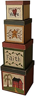 New Country Primitive Rusty Star FAITH FAMILY FRIENDS Nesting Stacking Boxes
