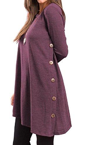Buckle Women Unbalanced Purple Crew Dress Pure Neck Coolred Dark Short Color 6EqZ6