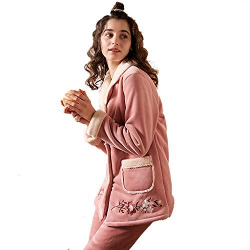 Dos Coral Manga Damas Juegos Llevar Pantalones Pueden Mangas Moda Lindos Terciopelo Camisones Invierno Chicas Gruesos Pink Cálidos De Pijamas Serv Largas Larga Y HSpXxWwq6