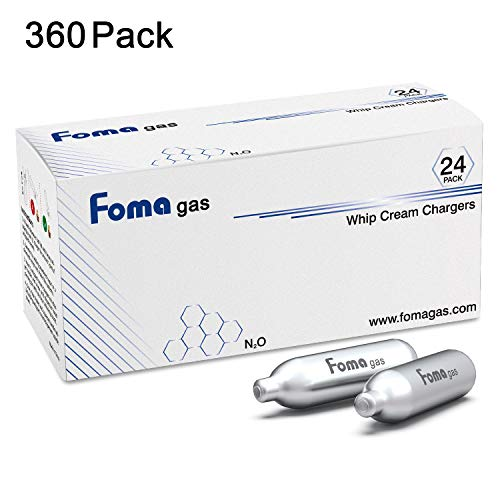 Foma Gas Whipped Cream Chargers Nitrous Oxide Charger N2O Cartridge (360 Pack) Cream Chargers Nitrous Oxide