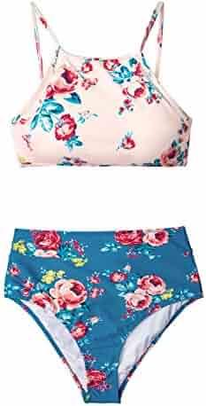 0fddef9759 CUPSHE Women's Leaves Printing High Waisted Bikini Set Tankini Swimwear
