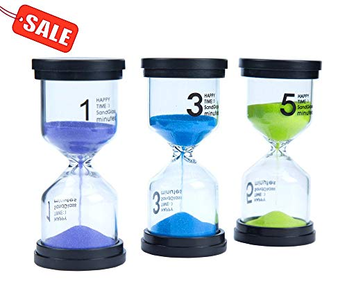 Lonnom Sand Timer Set 3 Pack Colorful Sandglass Hourglass Sand Clock 1 / 3 / 5 Minutes for Kids, Classroom, Kitchen, Games, Brushing Timer, Home Office Decoration Timers