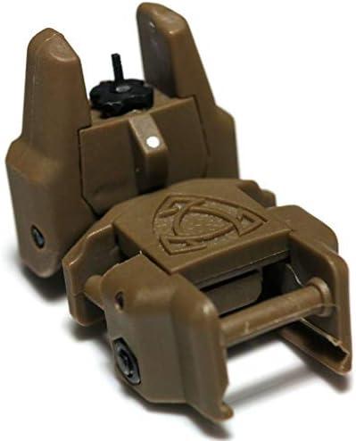 APS製パーツRhino Auxiliaryフリップアップ フロントサイト(すべての標準20mm RIS/RASレールに適しています)ダークアースDark Earth [AirsoftGangキーホルダー付]