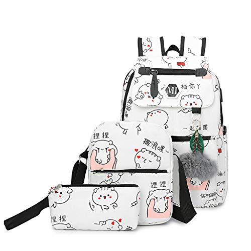 USB Charging Canvas Backpack 3 Pcs/Set School Backpacks Schoolbag Teenagers Man Student Book Bag Boys Satchel