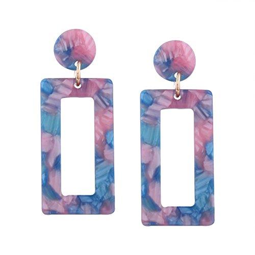 Pendientes de hoja de acetato de las señoras Pendientes de estilo vintage japonés y coreano elementos geométricos personalizados Fashion Street Shooting Pendientes creativos Blue+pink
