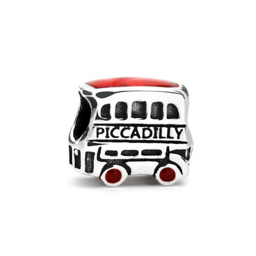 Bling Jewelry Piccadilly Circus London Double Decker British Coach Bus Bead Charm  925 Sterling