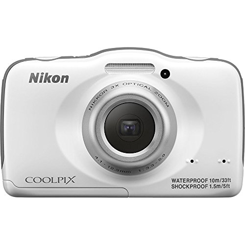 Nikon COOLPIX S32 13.2 MP Waterproof Digital Camera with Full HD 1080p Video (White) (Certified Refurbished)