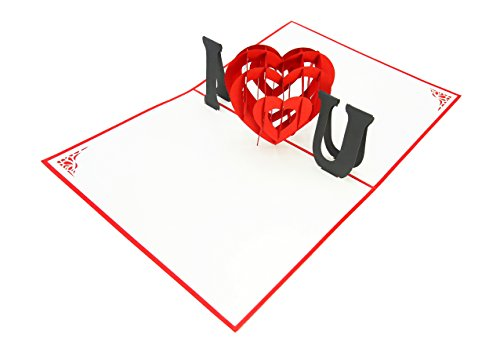 PopLife I Love You Heart 3D Pop Up Mother's Day Card - Anniversary Pop Up, Happy Birthday, Engagement, Valentine's Day Gift for Her - Folds Flat for Mailing - for - Heart Card Out Pop