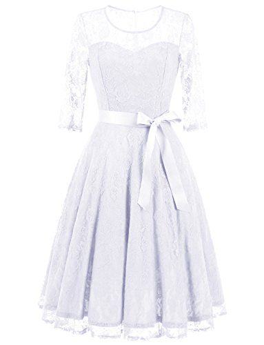 Dressystar 0017 Women's Elegant Floral Lace Dress 3/4 Sleeves Bridesmaid Midi Dresses Illusion Neckline White M (Womens Dresses Elegant)