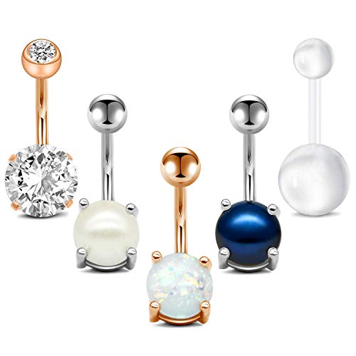 - QWALIT 14G Belly Button Rings Navel Rings Surgical Steel Jeweled Pearl Navel Piercing Barbell for Women Girls Short Belly Button Piercing Bar Body Jewelry 3/8