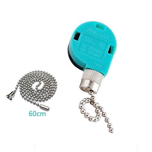 Ceiling Fan Switch Zing Ear Pull Chain Switch ZE-268S6 3 Speed 4 Wire Pull Chain Switch Control Ceiling Fan Replacement Speed Control Switch (Nickel)