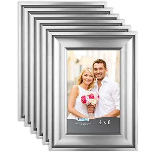 Icona Bay 4x6 Picture Frame (6 Pack, Silver), Silver Photo Frame 4 x 6, Wall Mount or Table Top, Set of 6 Elegante Collection