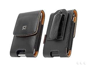 Cellet Nobel Size 3 Regular Vertical Leather Case Pouch w/ Removable Belt Clip for Huawei Ascend P6 - Black