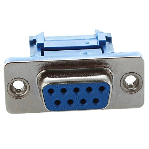 plug - TOOGOO(R) 5 parts D-SUB 9-pin DB9 Female IDC crimp adapter plug for ribbon cable Blue
