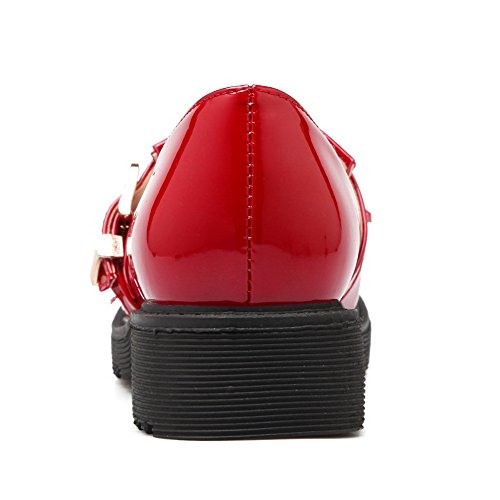 Allhqfashion Mujeres Low Heels Solid Hebilla Redondo Cerrado Toe Bombas-zapatos Rojo