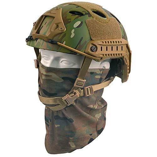 QZY Casque PJ Fast Tactical avec Masque pour Le Visage Couvre-Chef Polyvalent - Casque D'entraînement Multifonctionnel… 1