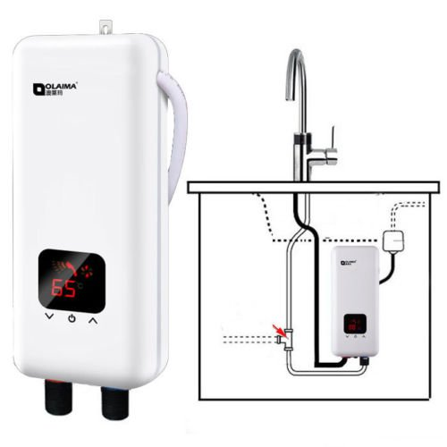 GGGarden 220V 5500W Mini Tankless Electric Instant Hot Water System Bathroom Kitchen Faucet Tap Water Heate - Under the Influent