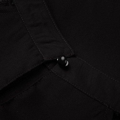 Camicette Con Blusa Casuali V Camicia Camicie Scoperte Maglia Donna T Donna Puro Spalle Da shirt Nero Manica yesmile Chiffon Scollo Delle Maniche Lunga Colore Lunghe nw8w6gqaxA
