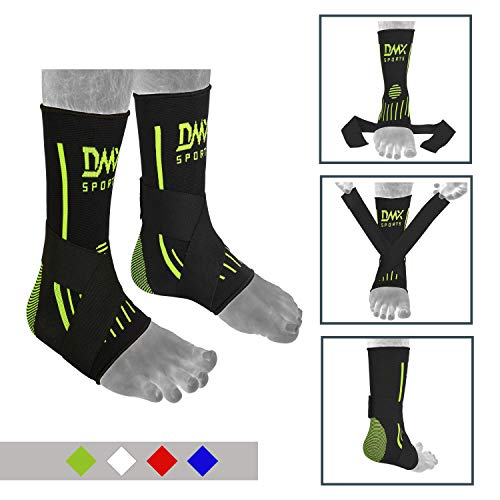 DMX Sports Ankle Support Guard for Muay Thai, Boxing, Kickboxing, MMA – Extra Stitching for Strong Support and Better Safety (Pair) (Green)