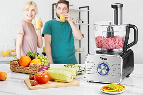 Food Processor 12-Cup, Multi-Function Food Processor 6 Main Functions with Chopper Blade, Dough Blade, Shredder, Slicing Attachments, 3 Speed 600W Powerful Processor, Silver by Tibek (Image #8)