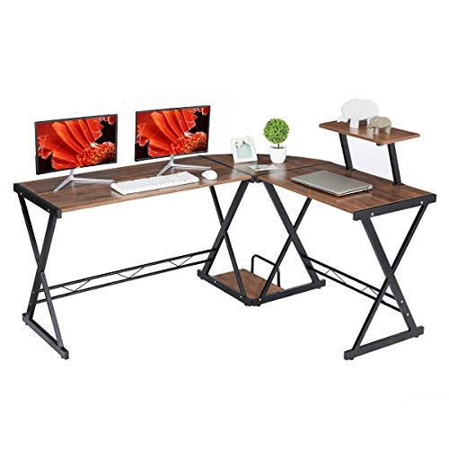 "GreenForest L Shaped Desk with Moveable Shelf, 58"" x 44"" Corner Computer Gaming Desk PC Table Workstation for Home Office, Walnut"