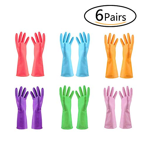 URSMART Reusable Household Waterproof Rubber Latex Cleaning Gloves Dishwashing Gloves (6 pairs M)