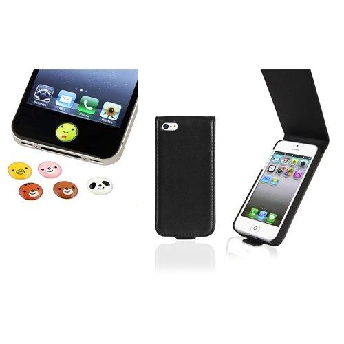 schwarz Leder Tasche Case+6pc Tier Home Button Aufkleber für Apple iPhone 5