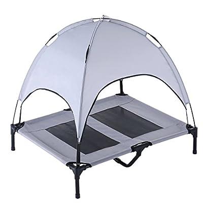 SUPERJARE Large/XlargeDogCotwithCanopyElevatedPetBed IndoororOutdoor Sturdy1680DOxfordFabric Lightweight&Portable ExtraCarryingBag Gray