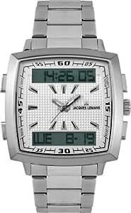 JACQUES LEMANS Milano 1-1491D - Reloj de caballero de cuarzo, correa de acero inoxidable (con cronómetro, luz)