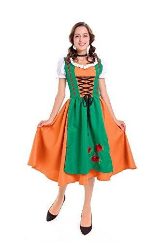 Serving Wench Fancy Dress Costume (SWISH Womens Mens Beer Costume Fancy Dress Outfit Bavarian German Oktoberfest Serving Wench Adult Dirndl (M fits Bust:92cm Waist:76cm L:117cm, Women's))