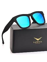 LUENX Mens Wayfarer Polarized Sunglasses Blue Lens Black Frame 58MM