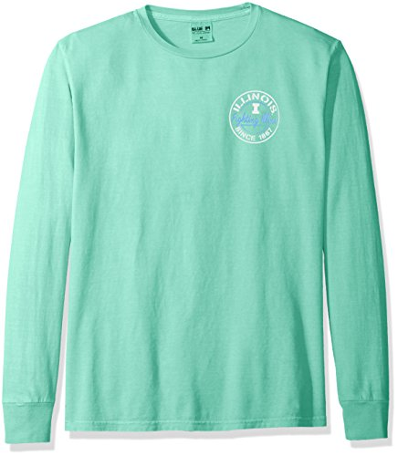 (Blue 84 NCAA Illinois Illini Adult Unisex NCAA Dyed Ringspun Fashion Color Longsleeve Tee,Large,Seafoam)