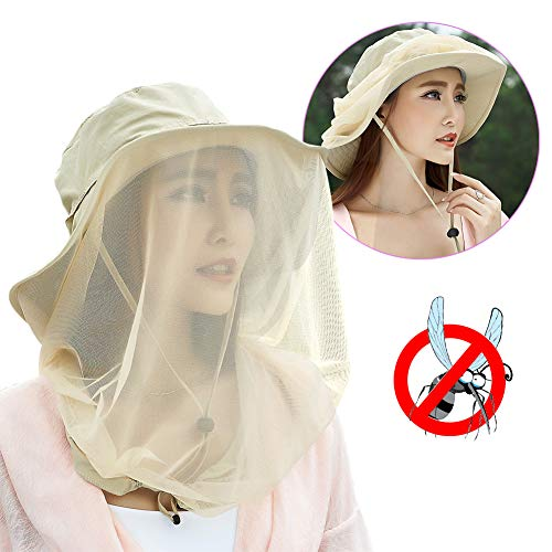 (Jackcell Mosquito Head Net Hat, Safari Hat Breathable Sun Hat, Beekeeper Hat with Veil Net Mesh Protection from Insect Bug Bee Mosquito Gnats for Women Outdoor Fishing Gardening Hiking Travel (Khaki))