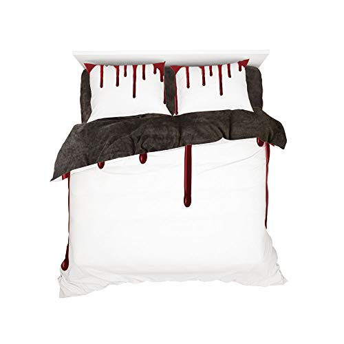 Flannel Duvet Cover Set 4-Piece Suit Warm Bedding Sets Quilt Cover for bed width 5ft Pattern by,Horror,Flowing Blood Horror Spooky Halloween Zombie Crime Scary Help me Themed Illustration,Red White -