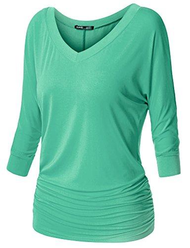 TWINTH Womens Plus Size Drape Top Side Shirring Dolman Sleeve Basic Jersey Tops Mint Medium