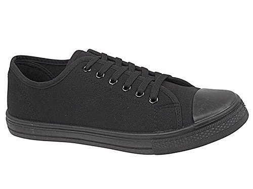 Mens Baltimore Low Top Top Canvas Toe Cap Lace Up Pumps Plimsoll All Star Trainers Casual Shoes Size 6-12 (UK 10, All Black)