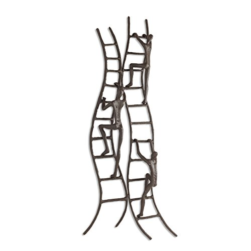 (Danya B. ZI15218 Home and Office Hanging Metal Wall Art - Cast Iron Climbing to Success Stairway)