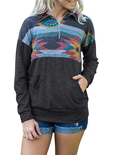 TECREW Women's 1/4 Zip Floral Printed Long Sleeve Pullover Sweatshirt Jacket Tops with (Zip Long Sleeve Pullover Top)
