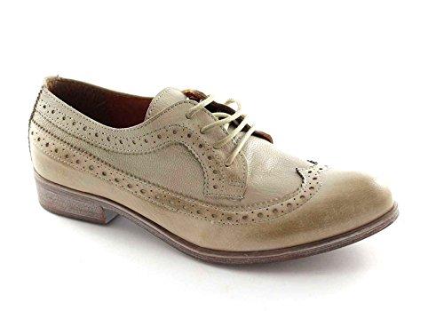 DIVINA FOLLIE 14383 zapatos de mujer de color topo Berby cordones Puntera Inglés Beige